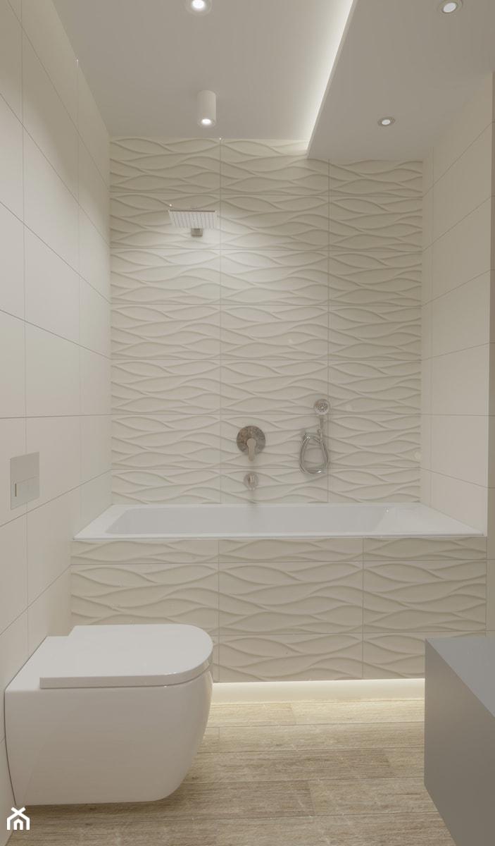 Projekt domu w Skawinie - Mała beżowa łazienka w bloku w domu jednorodzinnym bez okna, styl nowoczesny - zdjęcie od VINSO Projektowanie Wnętrz