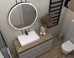 Skandynawska łazienka z czarnymi dodatkami - Łazienka, styl skandynawski - zdjęcie od VINSO Projektowanie Wnętrz - Homebook