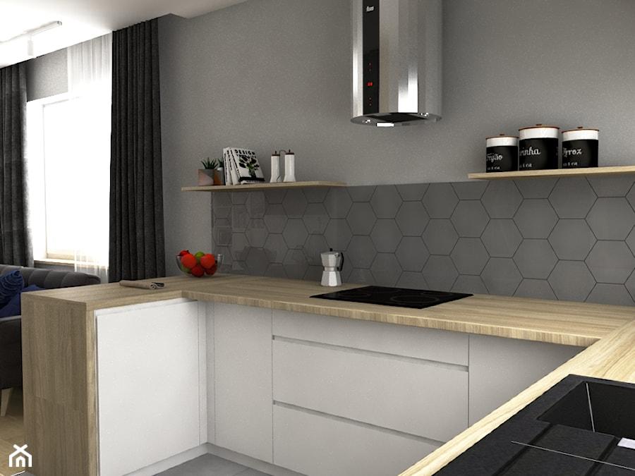 Dom w stylu skandynawskim w Luborzycy - Mała otwarta szara kuchnia w kształcie litery u w aneksie z oknem, styl skandynawski - zdjęcie od VINSO projektowanie wnętrz