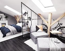 Aranżacja mieszkania przy ul. Grubby w Gdańsku - Średnia biała sypialnia małżeńska na poddaszu, styl industrialny - zdjęcie od Szlachta Pracownia Projektowa
