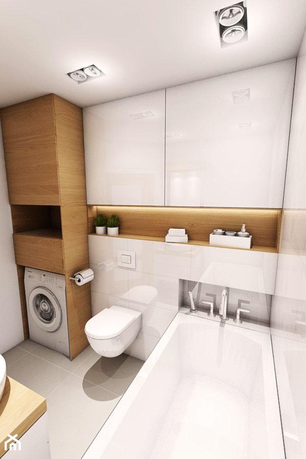 Aranżacja mieszkania przy ul. Małomiejskiej w Gdańsku - Mała beżowa łazienka, styl nowoczesny - zdjęcie od Szlachta Pracownia Projektowa