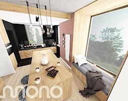 Aranżacja wnętrza domu w Konarzynkach - Średnia otwarta beżowa brązowa jadalnia w kuchni, styl skandynawski - zdjęcie od Szlachta Pracownia Projektowa