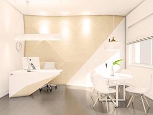 Gabinet - Średnie beżowe białe biuro kącik do pracy w pokoju, styl nowoczesny - zdjęcie od Szlachta Pracownia Projektowa