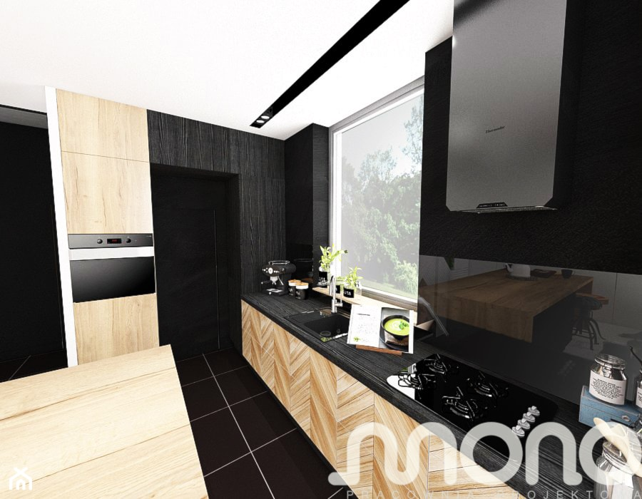 Aranżacja wnętrza domu w Konarzynkach - Średnia beżowa czarna kuchnia jednorzędowa z wyspą, styl nowoczesny - zdjęcie od Szlachta Pracownia Projektowa