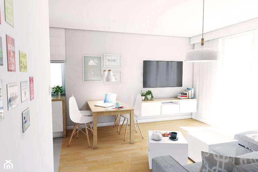 Aranżacja mieszkania przy ul. Małomiejskiej w Gdańsku - Średni szary biały salon z kuchnią z jadalnią, styl nowoczesny - zdjęcie od Szlachta Pracownia Projektowa - Homebook