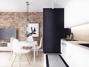 Jesionowa- Gdańsk Wrzeszcz - Mała otwarta biała kuchnia jednorzędowa w aneksie z oknem, styl industrialny - zdjęcie od Szlachta Pracownia Projektowa