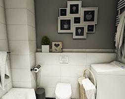 Aranżacja mieszkania, Gdańsk - Łostowice - Mała biała szara łazienka w domu jednorodzinnym bez okna, styl vintage - zdjęcie od Szlachta Pracownia Projektowa