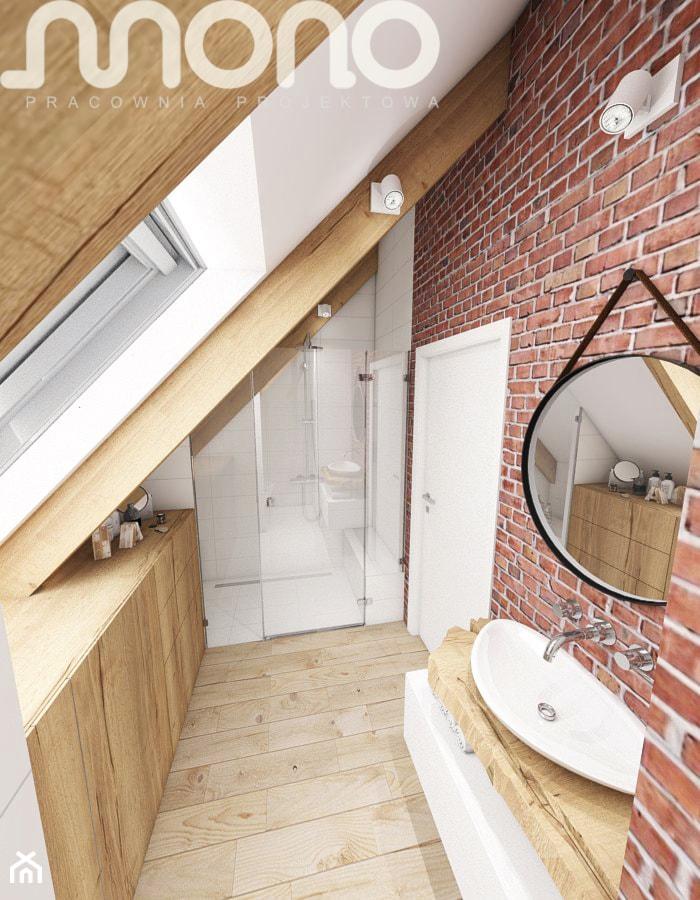 Aranżacja wnętrza domu w Konarzynkach - Średnia łazienka na poddaszu w domu jednorodzinnym z oknem, styl vintage - zdjęcie od Szlachta Pracownia Projektowa