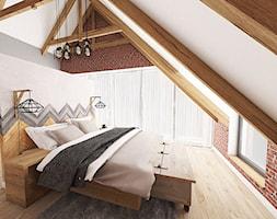 Aranżacja wnętrza domu w Konarzynkach - Średnia kolorowa sypialnia dla gości na poddaszu, styl vintage - zdjęcie od Szlachta Pracownia Projektowa