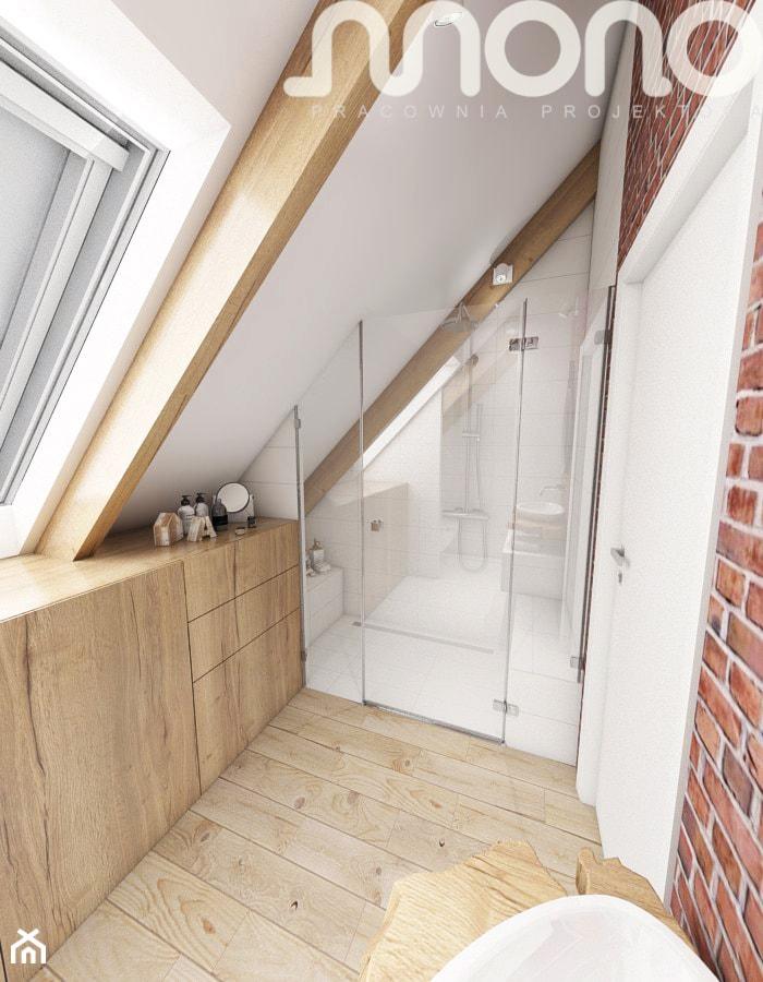Aranżacja wnętrza domu w Konarzynkach - Mała łazienka na poddaszu w domu jednorodzinnym z oknem, styl vintage - zdjęcie od Szlachta Pracownia Projektowa