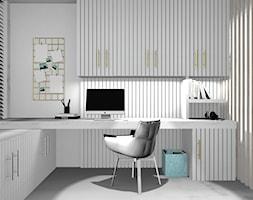 DOM JEDNORODZINNY POD KRAKOWEM - Mały biały szary pokój dziecka dla chłopca dla dziewczynki dla ucznia dla nastolatka, styl minimalistyczny - zdjęcie od 91m2 Architektura Wnętrz