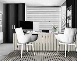 DOM JEDNORODZINNY POD KRAKOWEM - Duże szare biuro pracownia domowe na poddaszu w pokoju, styl minimalistyczny - zdjęcie od 91m2 Architektura Wnętrz