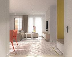 APARTAMENTY MORELOVE_75m2 - Duży biały żółty hol / przedpokój, styl nowoczesny - zdjęcie od 91m2 Architektura Wnętrz