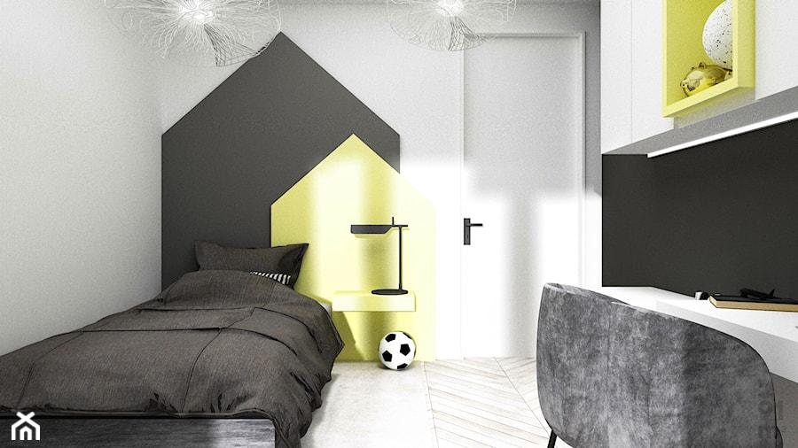 Aranżacje wnętrz - Pokój dziecka: APARTAMENTY MORELOVE_75m2 - Mały biały żółty czarny pokój dziecka dla chłopca dla ucznia dla nastolatka, styl nowoczesny - 91m2 Architektura Wnętrz. Przeglądaj, dodawaj i zapisuj najlepsze zdjęcia, pomysły i inspiracje designerskie. W bazie mamy już prawie milion fotografii!