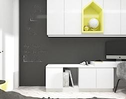 APARTAMENTY MORELOVE_75m2 - Mały biały żółty czarny pokój dziecka dla chłopca dla ucznia dla nastolatka, styl nowoczesny - zdjęcie od 91m2 Architektura Wnętrz