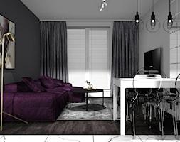 PARK LEŚNY BRONOWICE_49m2 - Średnia otwarta szara jadalnia w salonie, styl nowoczesny - zdjęcie od 91m2 Architektura Wnętrz