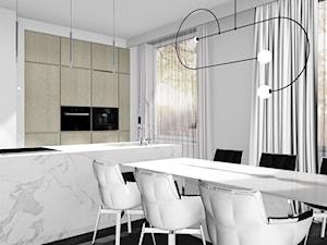 MIESZKANIE W WARSZAWIE_93m2 - Średnia otwarta szara jadalnia w kuchni, styl minimalistyczny - zdjęcie od 91m2 Architektura Wnętrz