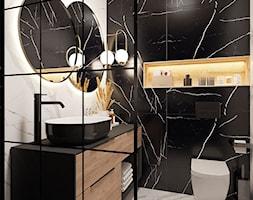 Black/white/wood bathroom - Łazienka, styl minimalistyczny - zdjęcie od Monika Idzikowska Wnętrza - Homebook