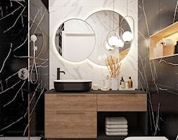 Black/white/wood bathroom - Łazienka, styl nowoczesny - zdjęcie od Monika Idzikowska Wnętrza - Homebook