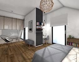 DOM pod Poznaniem - Duża biała czarna sypialnia małżeńska na poddaszu - zdjęcie od Pracownia Projektowa Małgorzata Roszczewska