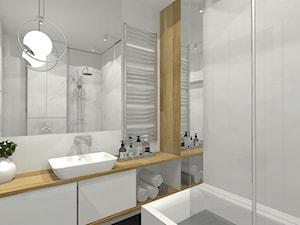 Kobiece mieszkanie - Średnia szara łazienka w bloku w domu jednorodzinnym bez okna - zdjęcie od Pracownia Projektowa Małgorzata Roszczewska