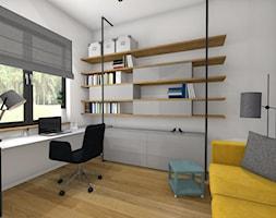 DOM pod Poznaniem - Średnie białe biuro domowe kącik do pracy w pokoju, styl nowoczesny - zdjęcie od Pracownia Projektowa Małgorzata Roszczewska