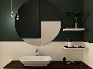 Łazienka w zieleni - projekt - Mała biała zielona łazienka na poddaszu w bloku w domu jednorodzinnym bez okna, styl vintage - zdjęcie od JEDNA DRUGA