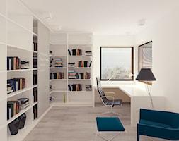 01 - Średnie białe biuro kącik do pracy, styl minimalistyczny - zdjęcie od Ewa Kramm Pracownia Architektury