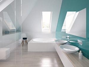 01 - Średnia biała niebieska łazienka na poddaszu w domu jednorodzinnym z oknem, styl minimalistyczny - zdjęcie od Ewa Kramm Pracownia Architektury