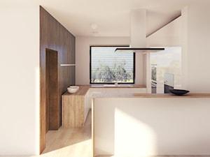 02 - Średnia otwarta beżowa kuchnia w kształcie litery g z oknem, styl minimalistyczny - zdjęcie od Ewa Kramm Pracownia Architektury