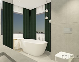 WILLA W CZĘSTOCHOWIE - Mała szara łazienka na poddaszu w bloku w domu jednorodzinnym z oknem, styl minimalistyczny - zdjęcie od Focus Design