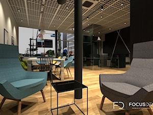 PROJEKT PRZESTRZENI BIUROWEJ W PARYŻU - Duże beżowe czarne biuro pracownia w pokoju - zdjęcie od Focus Design