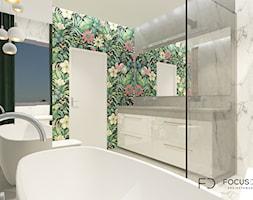 WILLA W CZĘSTOCHOWIE - Średnia biała szara łazienka na poddaszu w bloku w domu jednorodzinnym z oknem, styl minimalistyczny - zdjęcie od Focus Design