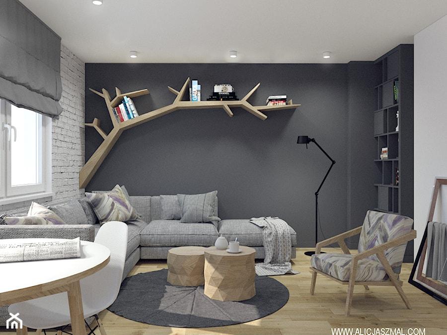 Aranżacje wnętrz - Salon: Salon z półka w kształcie gałęzi - Alicja Szmal Studio. Przeglądaj, dodawaj i zapisuj najlepsze zdjęcia, pomysły i inspiracje designerskie. W bazie mamy już prawie milion fotografii!