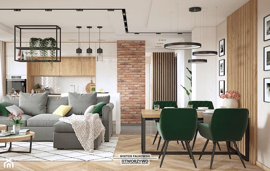 """Białystok   Dolina Cisów   3-pokojowe mieszkanie z ciepłym loftowym sznytem. - Jadalnia, styl indus ... - zdjęcie od """"TWORZYWO"""" Warsztat Architektury Wnętrz"""