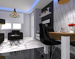 Nowoczesne z miedzianymi dekoracjami - Mała otwarta biała szara jadalnia w kuchni - zdjęcie od OPEN HOUSE INVEST