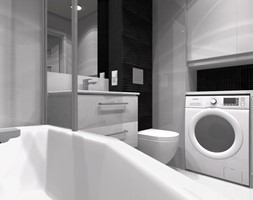 3 pokoje dla rodziny - Średnia czarna szara łazienka w bloku w domu jednorodzinnym bez okna - zdjęcie od OPEN HOUSE INVEST