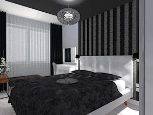 Nowoczesne z miedzianymi dekoracjami - Mała biała czarna sypialnia małżeńska - zdjęcie od OPEN HOUSE INVEST