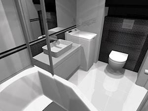3 pokoje dla rodziny - Mała czarna szara łazienka w bloku w domu jednorodzinnym bez okna - zdjęcie od OPEN HOUSE INVEST