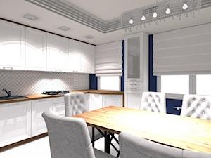 Nowoczesne z dużą jadalnią - Średnia zamknięta szara czarna kuchnia w kształcie litery l z oknem, styl nowoczesny - zdjęcie od OPEN HOUSE INVEST