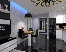 Nowoczesne z miedzianymi dekoracjami - Mała otwarta czarna szara jadalnia w kuchni w salonie - zdjęcie od OPEN HOUSE INVEST