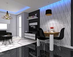 Nowoczesne z miedzianymi dekoracjami - Mała otwarta biała czarna szara jadalnia w salonie - zdjęcie od OPEN HOUSE INVEST