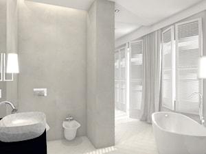 Łazienka konkursowa 2 - Średnia szara łazienka na poddaszu w bloku w domu jednorodzinnym z oknem, styl eklektyczny - zdjęcie od ONE HOME Studio Architektury Wnętrz