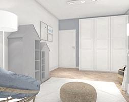 Duży biały szary pokój dziecka dla chłopca dla dziewczynki dla niemowlaka, styl nowoczesny - zdjęcie od ONE HOME Studio Architektury Wnętrz