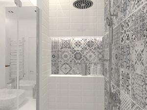 Warszawa 70 m2 - Mała biała łazienka na poddaszu w bloku w domu jednorodzinnym bez okna, styl rustykalny - zdjęcie od ONE HOME Studio Architektury Wnętrz