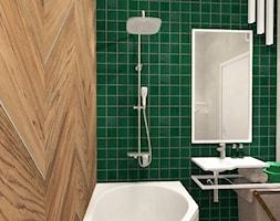 Łazienka konkursowa - Mała szara zielona łazienka w bloku w domu jednorodzinnym bez okna, styl industrialny - zdjęcie od ONE HOME Studio Architektury Wnętrz