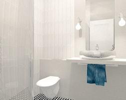 Mała biała łazienka na poddaszu w bloku w domu jednorodzinnym bez okna, styl nowoczesny - zdjęcie od ONE HOME Studio Architektury Wnętrz