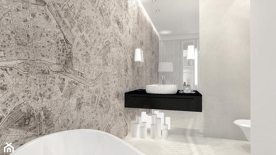 Łazienka konkursowa 2 - Mała szara łazienka na poddaszu w bloku w domu jednorodzinnym z oknem, styl eklektyczny - zdjęcie od ONE HOME Studio Architektury Wnętrz