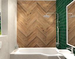 Łazienka konkursowa - Mała szara zielona łazienka na poddaszu w bloku w domu jednorodzinnym bez okna, styl industrialny - zdjęcie od ONE HOME Studio Architektury Wnętrz