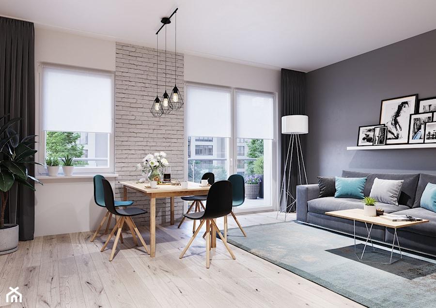 Szyny sufitowe Slim - Duży szary biały salon z jadalnią, styl nowoczesny - zdjęcie od MARDOM HOME